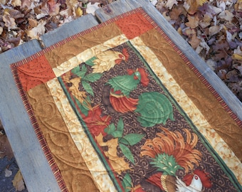 Rooster Quilted Table Runner Handmade Quilted Table Runner, Fall Quilted Table Runner, Chicken Quilted Table Runner, Free US Shipping