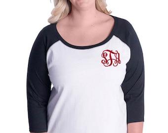 Monogram Raglan T Shirt | 3/4 Sleeve | Plus Size Raglan | Monogram Baseball Tee | Baseball T Shirt | Gift for Her | Personalized Tee