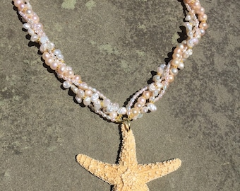 starfish and freshwater pearl necklace.
