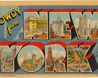 Linen Postcard, Howdy from New York City, Empire State Building, Large Letter, ca 1945