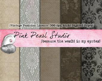Vintage Parisian Linen Digital Printable Paper Pack...Scrapbooking, Crafts and Cardmaking