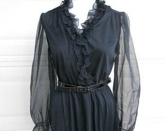 SALE 1970s Black Sheer Wrap Dress. Ruffle Party Dress