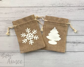 Christmas gift bag, burlap gift bag, burlap bag, personalised gift bag