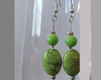 Green coral stimulant earrings