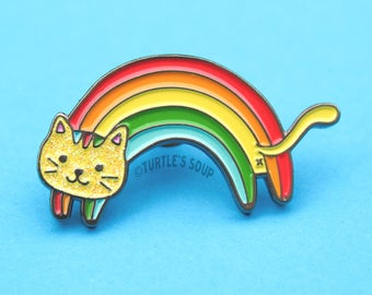 Rainbow Cat, Soft Enamel Pin, Cat Pins, Lapel Pin, Kitty Flair, Cat Lover Gift, Mother's Day, Cat Brooch, Animal Pins, Gift Idea, Cute Pets