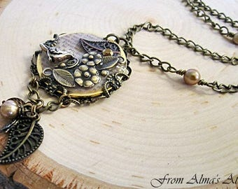 Bird Pendant Necklace, Long Brass Bird Necklace, Nature Necklace,  Bird & Floral Pendant, Bird Jewelry, Bird Necklace, Brass Floral Necklace