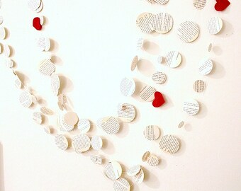 Paper circles garland, upcycled vintage book paper garland, paper room decor, eco friendly wedding shower decor, handmade