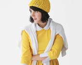 Yellow Bobble Hat - Pom Pom Knit Beanie - Chunky Winter Hat in Yellow & Cream - Hand Knitted Bobble Beanie | The Ursa Minor Hat |