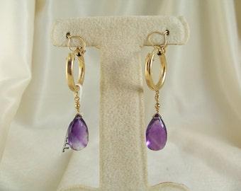 """Amethyst 13mm briolette earrings hoop 1.5"""" total gold filled gemstone handmade  item 727"""