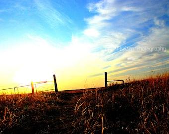 Nebraska Gate with Sunset on Grass in a Pasture- Choose Matthew Bible Verse, Plain Photo, or Custom