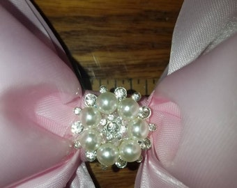 Beautiful Pink Satin Boutique Bow, First Communion Bow