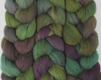 4oz BFL Mixed Blue Faced Leicester 'Lady Slipper' Combed Top Roving Dyed Wool Spinning Fiber Indie