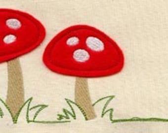 Mini Fleece APPLIQUE Mushrooms Toadstools Embroidered Flour Sack Hand/Dish Towel
