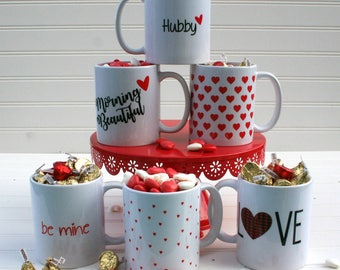 Valentine's Day Mug, love inspiration, for boyfriend, for girlfriend, for wife, for husband, hearts, buffalo plaid, xoxo, be mine options