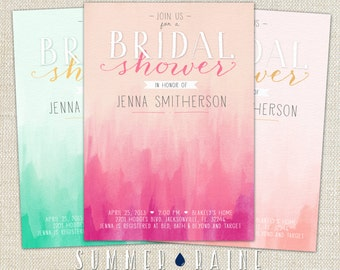 """OMBRE Watercolor Printable BRIDAL Shower Invitation- 5""""x7"""" - Customize your Colors"""