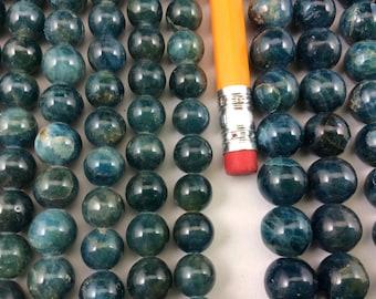 Natural Apatite 8mm/10mm Round Beads, Full Strand G01088