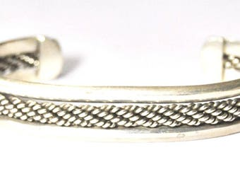 "Tahe Style Weave Mexico Sterling Silver Bangle Cuff Bracelet 2.75"" 18mm 7"" Wrist"