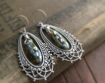Vintage Style Earrings, Blue Earrings, Boho Earrings, Victorian Earrings, Dangle Earrings, Filigree Earrings, Budding Creations