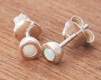 0.11ct Solid White Opal Earrings in Sterling Silver, Unique Natural Australian Opal Jewelry SKU: 1939A016