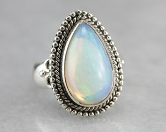 Opal Statement Ring, Opal and Sterling Silver, Cabochon Ring, Bohemian Jewelry 7NLTUPT2-C