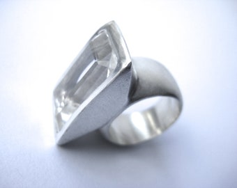 Sterling Silver and Rectangular Quarz Big Ring