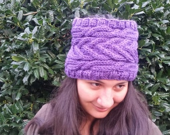 Cable Bunless Hat- Lilac