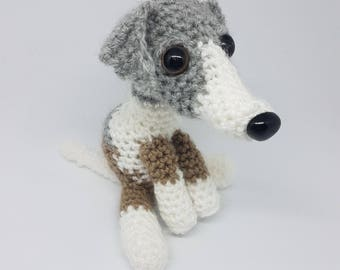 Handmade Crochet Whippet Plush (available in custom colours)
