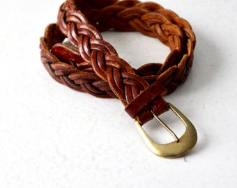 vintage 70s braided leather belt with brass buckle, woven belt