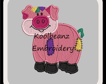Patch pig embroidery and applique design. In 4x4 fill 5x7 6x10 applique will fit MB4 hoop.