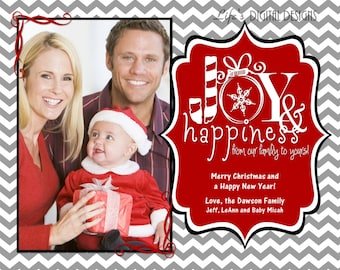 christmas photo cards joy and happiness grey chevron customizable printable costco size 6 x