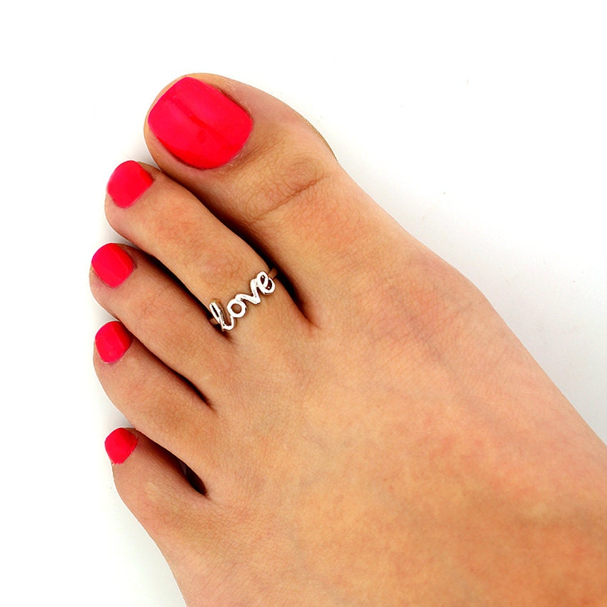 Sterling silver toe ring Love design adjustable toe ring Also