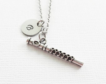 Flute Initial Necklace Personalized Necklace Silver Necklace Flutist Flautist Flute Music Player Musician Gift Orchestra Symphony Band