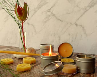 Candles men love, gift for men, manly candle, candle for men natural beeswax candles in round silver tin clear lid. 2 candle set.