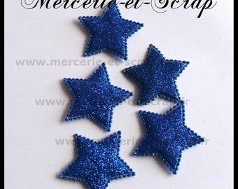 LOT 3 embellishment 40mm bright blue glitter stars