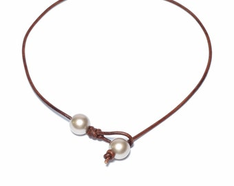 Pearl Leather Choker, Lariat Necklace, Custom Made, Hypoallergenic, Metal Free, Swarovski Pearls, Round, 10mm, Brown or Black Leather Cord