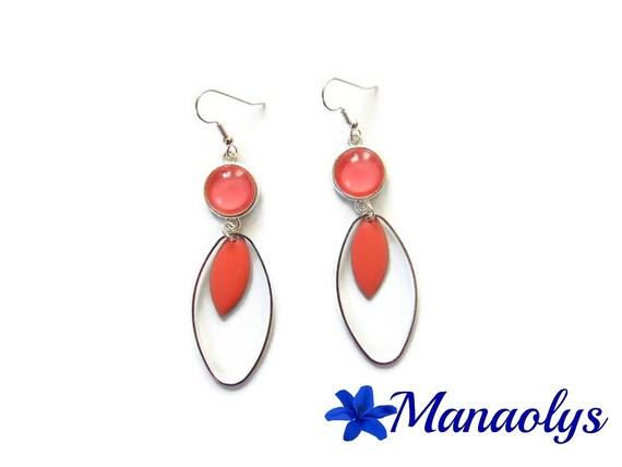 Hoop earrings, oval, enamel silver charm rings, glass cabochons roses