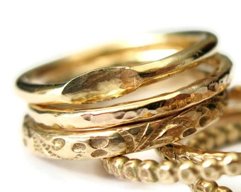 Stacking Rings Set, Anniversary Gift, Wedding Rings, Handmade Floral Signet Hammered Band Rings