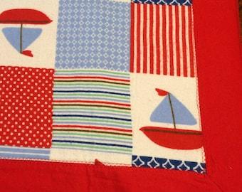 Sailboat Flannel Receiving Blanket