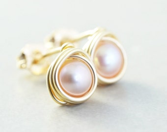 Pink Pearl Studs, Mauve Pearl Posts, June Birthstone, Bridesmaid Gift