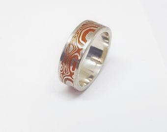 14K White Gold & Copper Mokume Gane Rings Bands Woodgrain Style Design