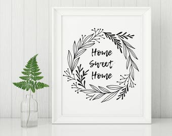 Home Sweet Home | Black & White Simple Modern Farmhouse Printable | Typography Art Print | Digital Print INSTANT DOWNLOAD