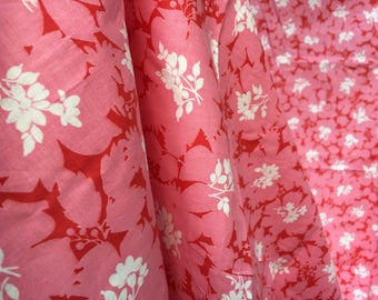 "60's Pink and White Floral Print Fabric - Lightweight Cotton // 37"" Wide x 78"" = 2.1 Yards"