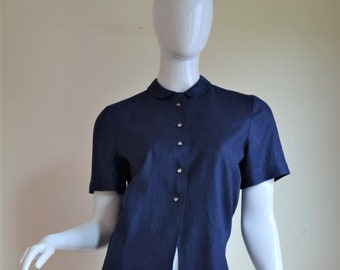 1950s Navy Blue Linen Peter Pan Collar Blouse with Rhinestone Buttons