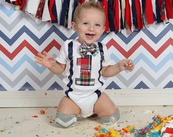 Boy bow tie, Suspenders, Bow tie Number 1, Boy First Birthday, Boy Cake Smash Outfit, Boy 1st Birthday, Plaid Bow tie set