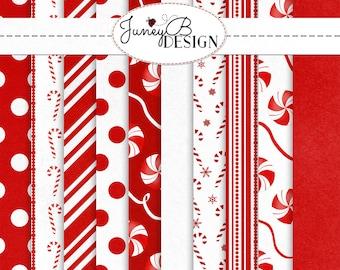 Candy Cane Dreams Paper, Digital Christmas Paper, Christmas Scrapbook Paper, Digital Paper