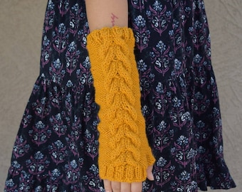 Fingerless gloves knitted arm warmers yellow mustard womens gloves gift for her long gloves winter wedding bridesmaids gift Christmas gift
