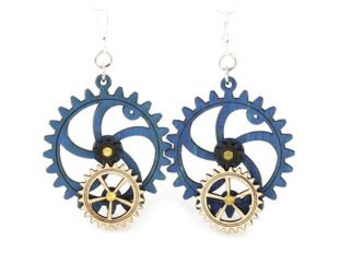 Gear Earrings that move - made from wood - hugo steampunk style #5001D