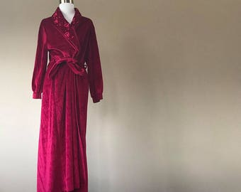 S / Carole Hochman / Prima Donna / Robe / Cherry Red / Long / Velour / Small