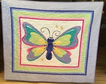 Baby girl butterfly quilt