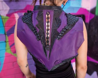 Purple and Black Leather Silver Geo Studded Spunkhyde Bolero Vest